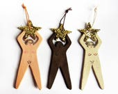 Glittery star rude nude hanging christmas tree ornaments