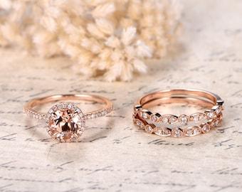 Solid 14K Rose Gold 1ct Morganite Engagement Ring Set 6.5mm Round Morganite Ring Diamond Wedding Band Bridal Wedding Ring Set Promise Ring