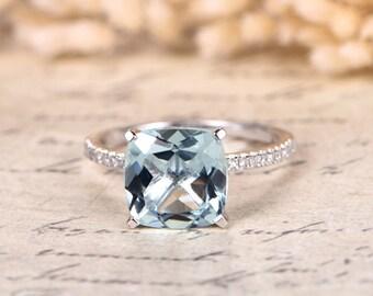 Aquamarine Solitaire Ring, 9mm Cushion Cut Aquamarine Engagement Ring, Pave Diamonds Wedding Band, 14K white gold March Birthstone Ring