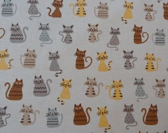 Cats Print Fabric - Linen Look Canvas. Cute Cats on Grey/Beige. For Curtains, Blinds, Furnishing, Bags, Bean Bags, Cat Beds, Craft