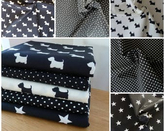 Fat Quarter Bundle  Black & White Scottie Dogs Fabric - Monochrome - 5 Piece 100% Cotton Poplin - For Quilting - Crafts, Patchwork, Cushions