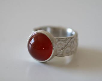 Silver ring with noble orange Carnelian