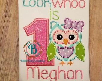 Owl birthday shirt--Look whoo is