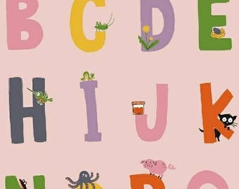 Alphabet - KINDER by Heather Ross for Windham Fabrics - Pink - 43481-1