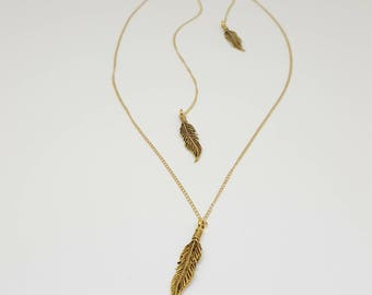 Let Her Fly Gold Feather Necklace