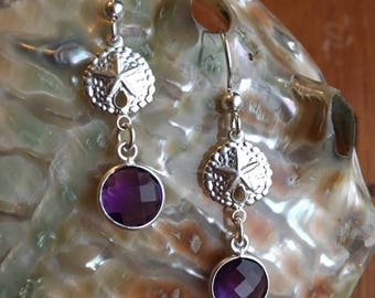 Amethyst Sand Dollar Earrings/Sterling Silver