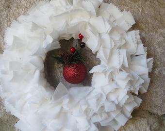 Small White Rag Wreath