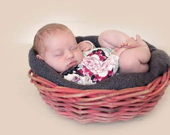 RTS newborn romper , all in one, newborn photo prop, vintage outfit