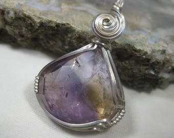 Natural, Faceted Ametrine Pendant in Sterling Silver Wire