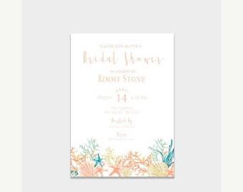 HALF OFF Bridal Shower Invite, Under The Sea Bridal Shower Invitation, Beach Bridal Shower, Beach Wedding, Digital Invitation, Printed Cards
