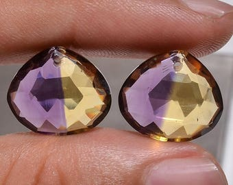 65% OFF SALE 1 Pair Ametrine Quartz Faceted Heart Shape Drilled Stone for Earrings, Lab Created Ametrine Gemstone - Size : 14mm x 16mm Facet