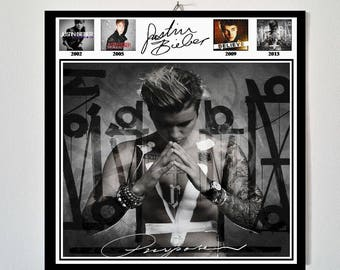 Justin Bieber Purpose Album Cover vinyl style decorative wooden hanging poster + all studio album covers in 2 options