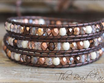 Beaded Wrap Bracelet, Leather Wrap Bracelet, Boho Wrap Bracelet, Wrap Bracelet, Triple Wrap Bracelet, Beaded Bracelet, Bracelet Wraps