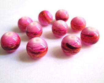 10 perles rose tréfilé multicolore en verre peint 12mm