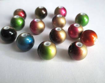 lot 20 two-tone acrylic beads 12mm color mix