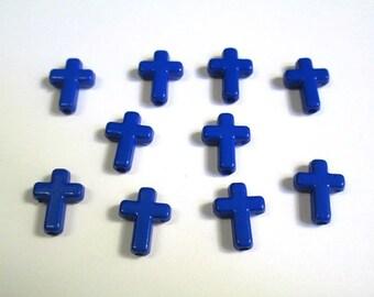 dark blue acrylic cross 16 x 12 x 4 mm 10 beads