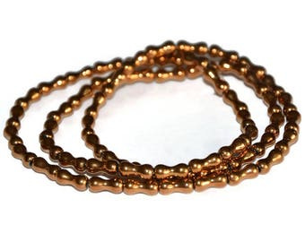 70 electroplate 8x4mm Brown bone beads