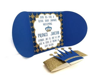 Royal Prince Blue and Gold Baby Shower Invitations, Royal Prince Baby Shower Invitations, Royal Prince Invitations, Royal Prince Baby Shower