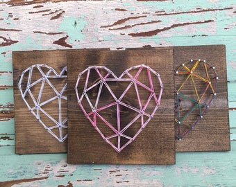 Geometric Heart String Art Sign, MADE TO ORDER
