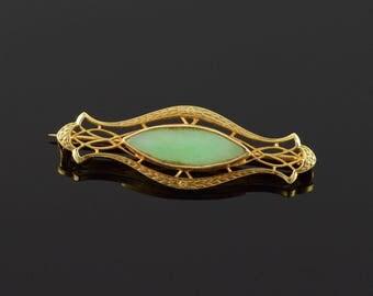 14k Art Deco 18x6 Marquise Green Jade Filigree Pin/Brooch Gold