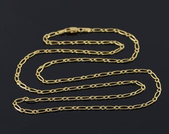 2.5mm Figaro Loose Link Chain Necklace Gold