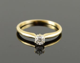 14k 0.20 CT Solitaire Diamond Engagement Ring Gold