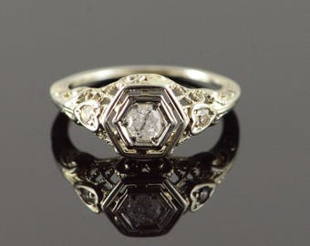 10k Vintage 0.20 CT Diamond Filigree Engagement Ring Gold