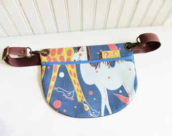 Camel Birds Circus Animals on Blue Ground Vintage Barkcloth Fabric Hip Bag Fanny Pack Adjustable Strap Gift for Him Her Holiday Christmas