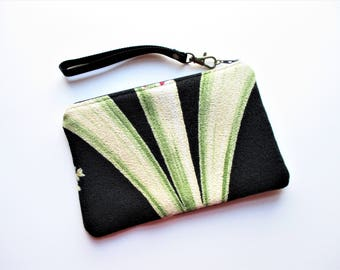 Green Beige Swag on Black Ground Vintage Barkcloth Fabric Wristlet Makeup Bag Pouch Gift for Her Christmas Holiday