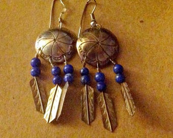 Silver Dangles with Semi-Precious Stones,Vintage Native American Domed Blue Stone Feathers Drop Earrings