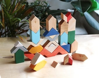 Kaleidoscope, Building blocks, Wooden toy, Wooden blocks, Wooden shapes, Waldorf wooden blocks, Wooden puzzle
