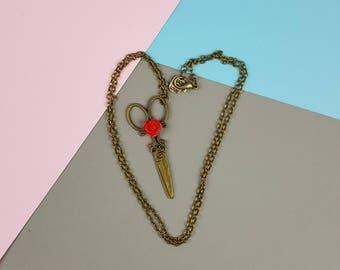 Vintage Scissor Red Rose Charm Necklace in Antiqued Bronze