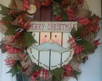 Santa Claus Christmas Wreath, Front Door Wreaths, Christmas Decor, Door Decoration, Rustic Christmas Wreath