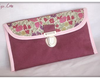Suede pouch and Liberty Poppy and Daisy