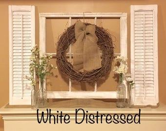 Old Window Frame, Shutters,  Farmhouse Decor, Grapevine Wreath, Fixer upper decor