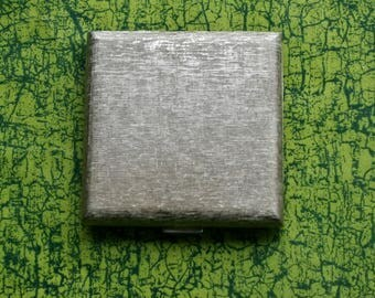 Vintage Regent of London Silver Tone Square Powder Compact 1970's