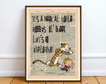 Calvin and Hobbes wall art illustration poster Mock dictionary page print