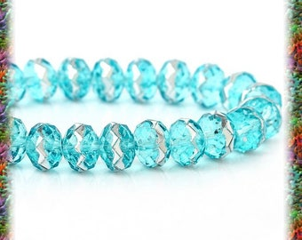 20 sky faceted & silver 8 mm glass beads