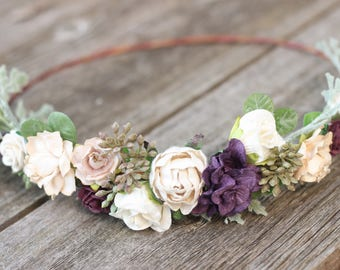 Plum Flower Crown Champagne Flower Crown - Boho Wedding Eucalyptus - Greenery Wedding Crown - Floral Crown - Autumn Wedding Headpiece Boho