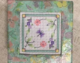 Handmade gift box / cross stitch box / decoupaged box