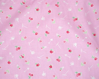 Pam Kitty Garden Garden Tools on Pink   Reproduction Cotton Print   BTY