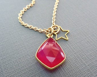 Chalcedony Necklace / Fuschia Chalcedony Gold Pendant / Hot Pink Stone Necklace/ Fuschia and Gold Necklace/ Pink Stone Gold Star -BE47