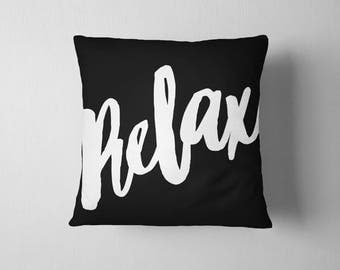 Black and white Relax throw pillow