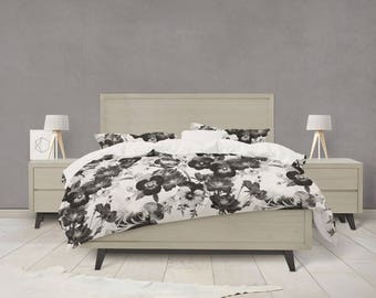 Black and white floral duvet cover