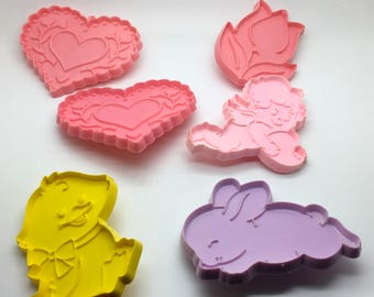 Vintage  Hallmark Cookie Cutter Heart Cupid Duck Rabbit Tulip Easter Decor Spring Pastel Colours