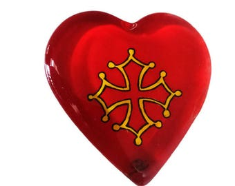Press paper heart glass - painting on glass - cross of Biscay - red background