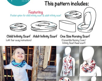 A4 Print Version Quick! A Scarf! Sewing Pattern and Tutorial pdf sewing pattern nursing scarf nursing cover infinity