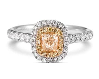 Diamond Engagement Ring, Double Halo Diamond Ring, 18K white Gold Ring With Diamonds, Wedding Diamond Ring