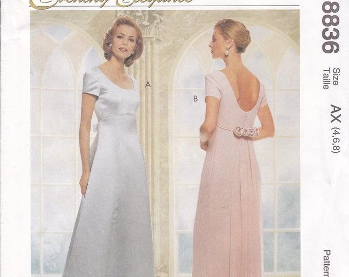 FREE US SHIP McCall's 8836 Evening Elegance Dress  Rosette Evening Length Size 4 6 8  10 12 14 16 Bust 29 30 32 34 36 38 New 1990's