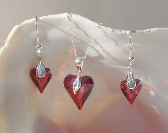Swarovski red magma crystal and sterling silver necklace & earring set